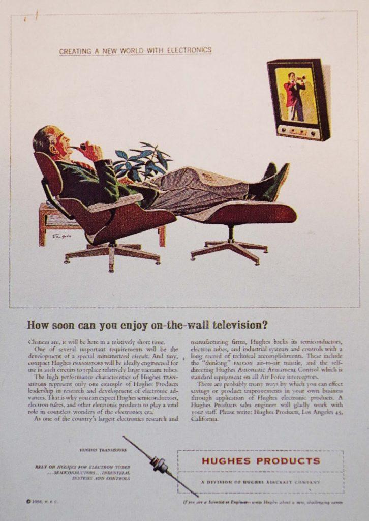イームズラウンジチェアと壁掛けテレビ