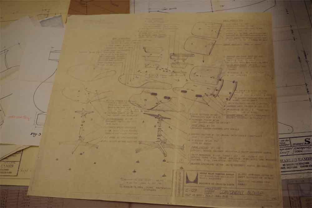 イームズラウンジチェアのオリジナル図面